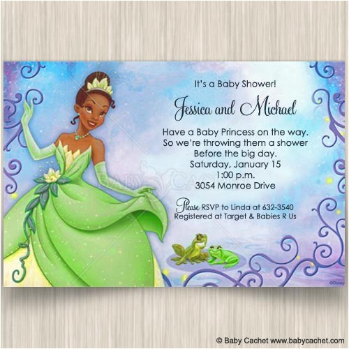 princess tiana and frog baby shower invitations diis0053