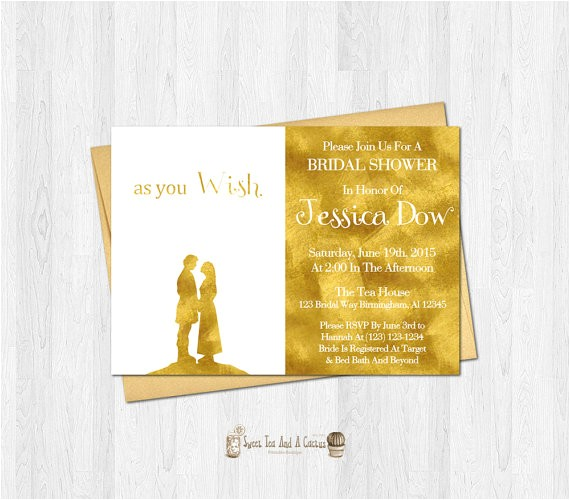 princess bride bridal shower invitation