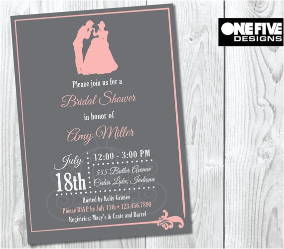 princess theme bridal shower invitation