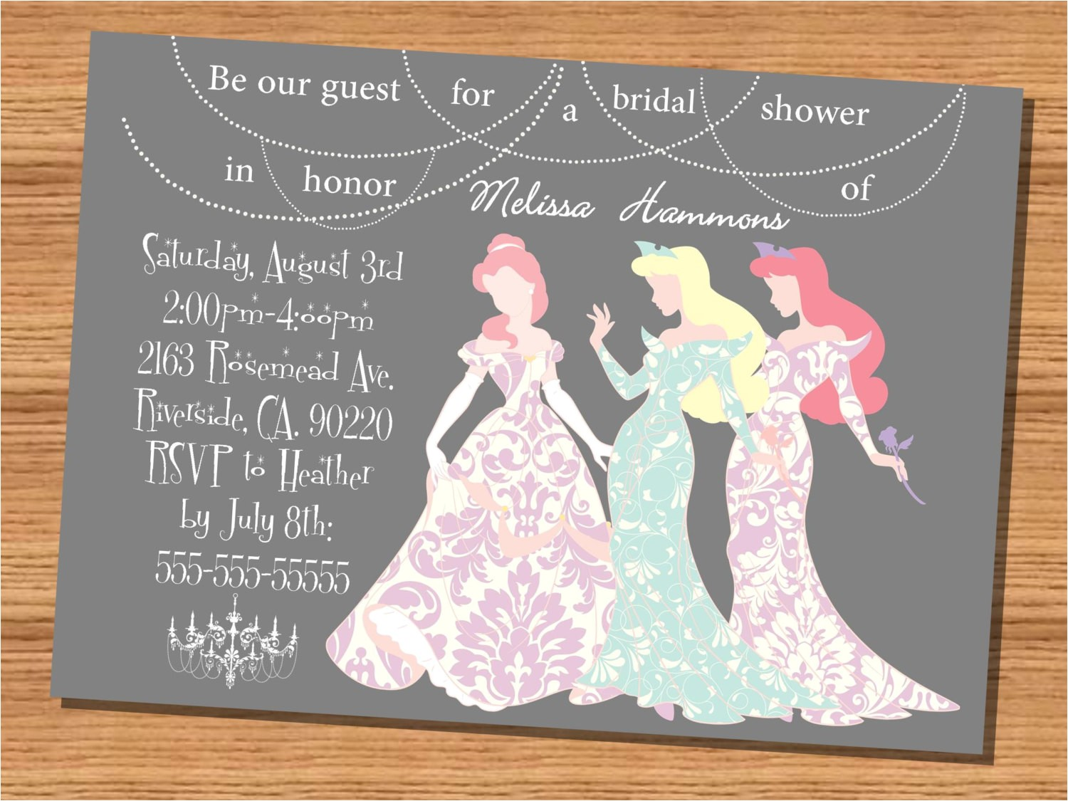 Princess Bridal Shower Invitations Princess Wedding Shower Invitation Disney Princesses