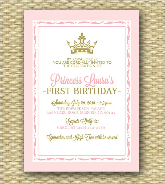 princess first birthday invitation royal