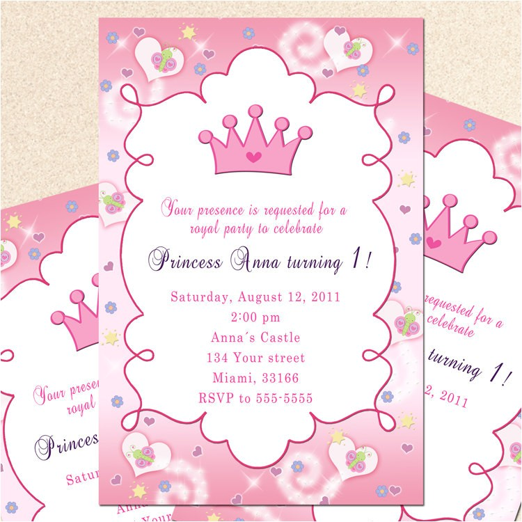 royal princess birthday invitation girl