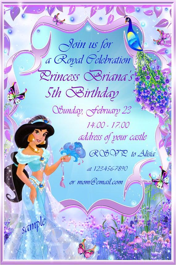 princess jasmine birthday party invitation ideas