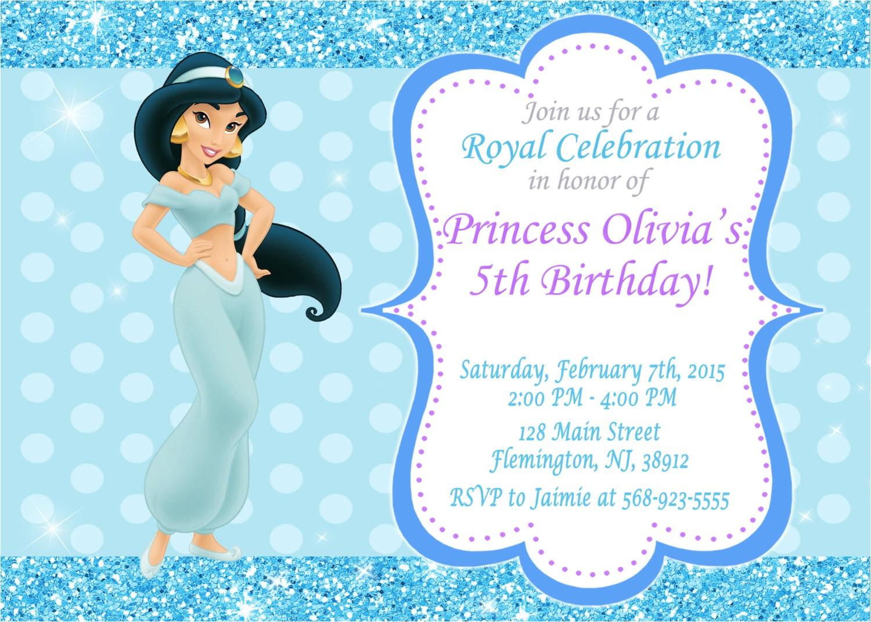 princess jasmine invitation birthday