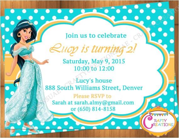princess jasmine invitation for birthday