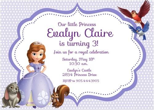 post free printable princess sofia invitations 128756