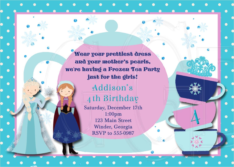 Princess Tea Party Invitation Wording Ice Princess Tea Party Invitation Birthday Digital File