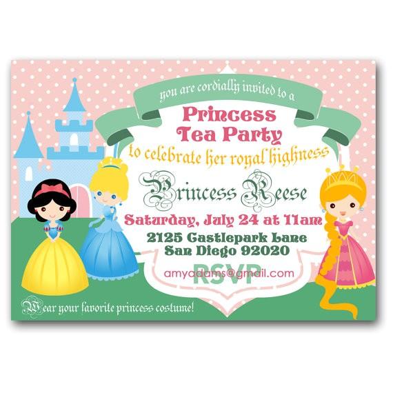princess tea party invitation royal tea