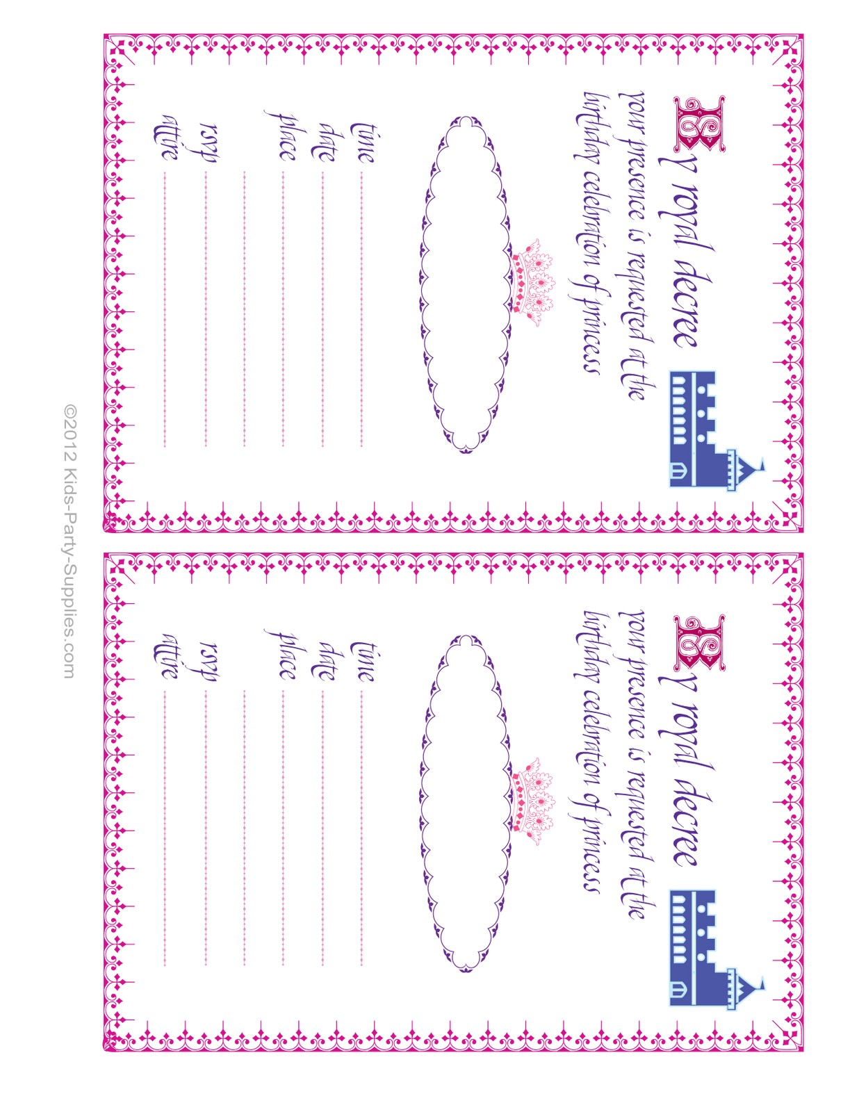 post princess party invitations printable