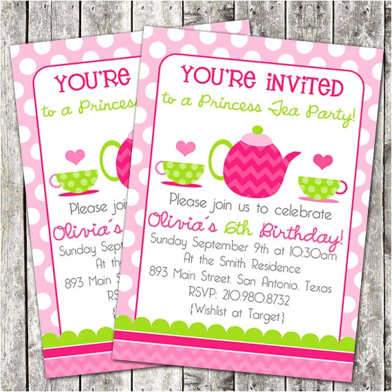printable birthday party invitation tea