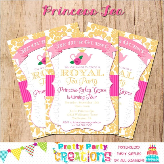 princess tea party invitation print