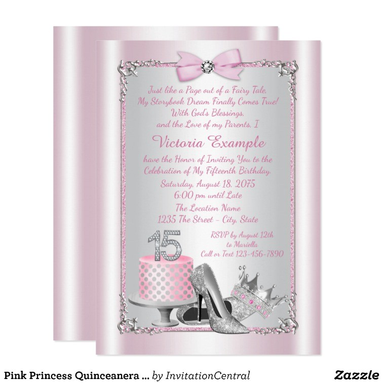 Princess themed Quinceanera Invitations Pink Princess Quinceanera Invitations Zazzle