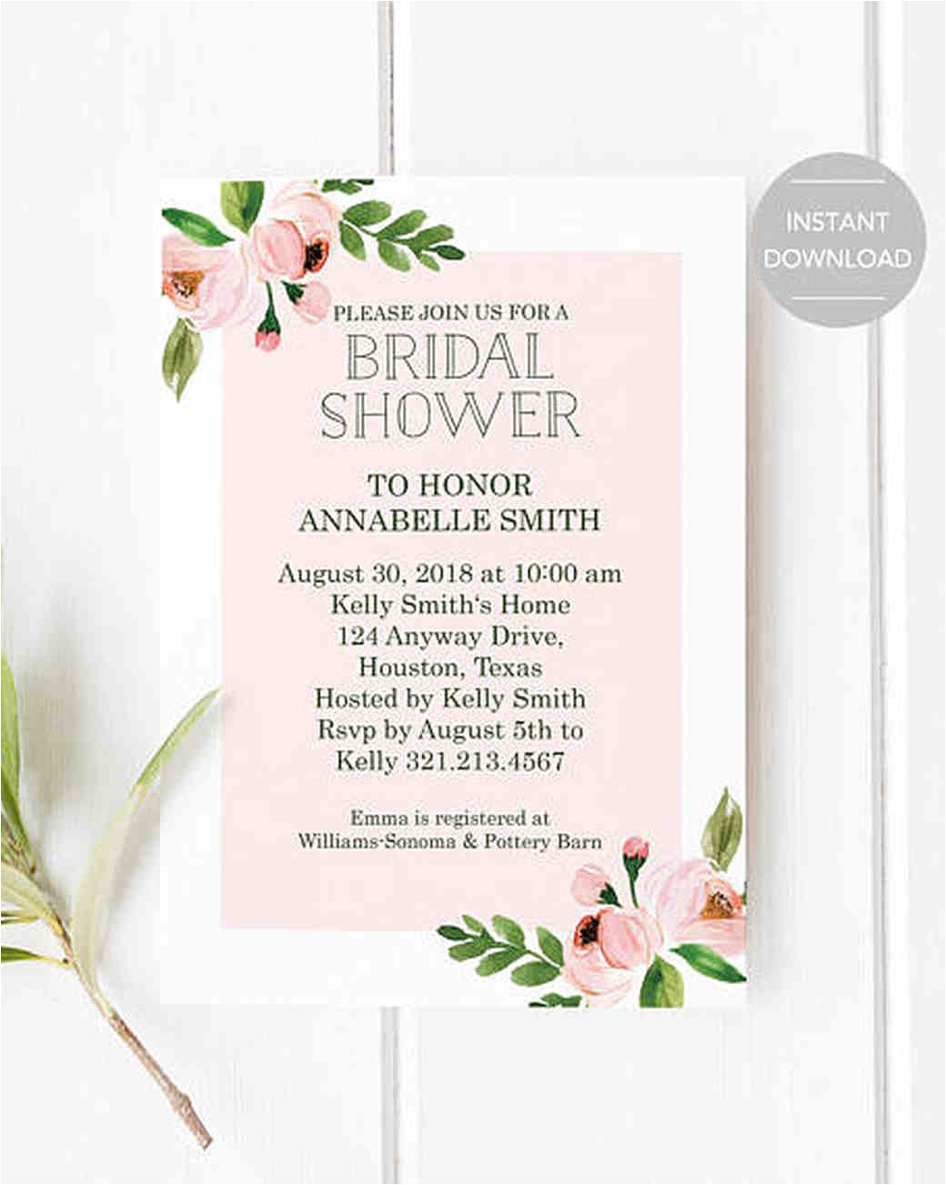 affordable printable bridal shower invitations