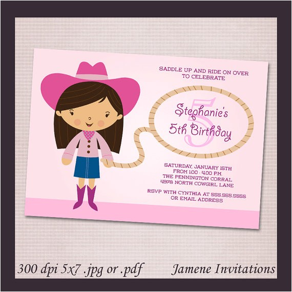 pink cowgirl birthday party printable invitation