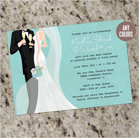 couples shower bridal shower invitations color