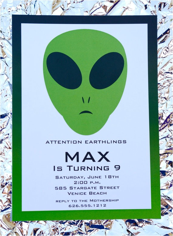 alien birthday party invitation alien