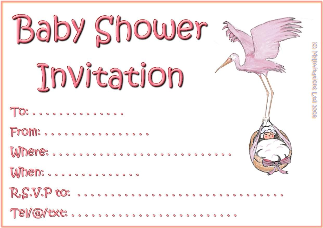 printable girl baby shower invitations