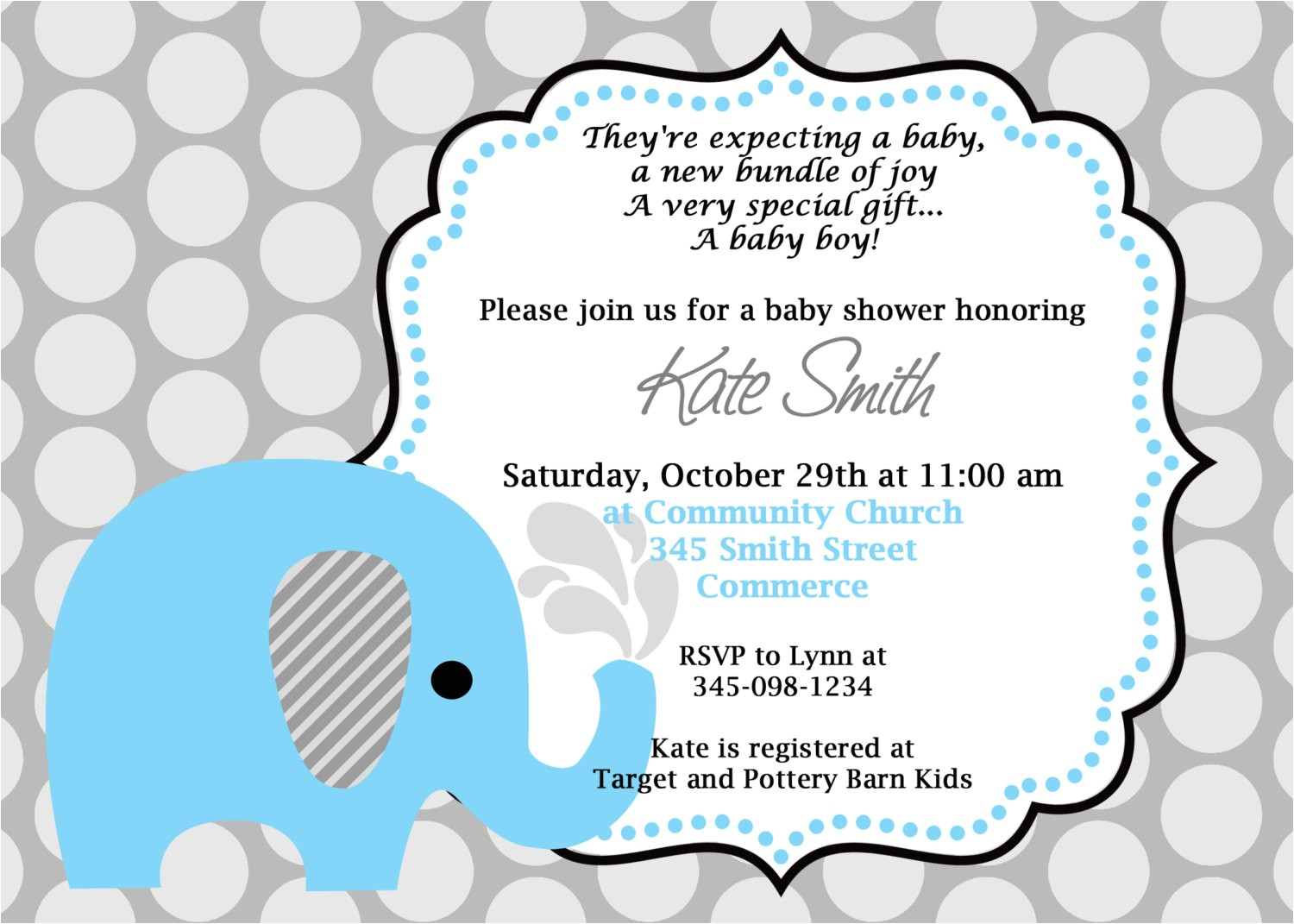 printable blue elephant baby shower