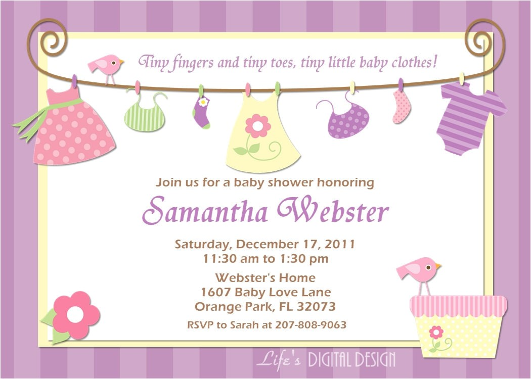 baby shower invitation baby clothes
