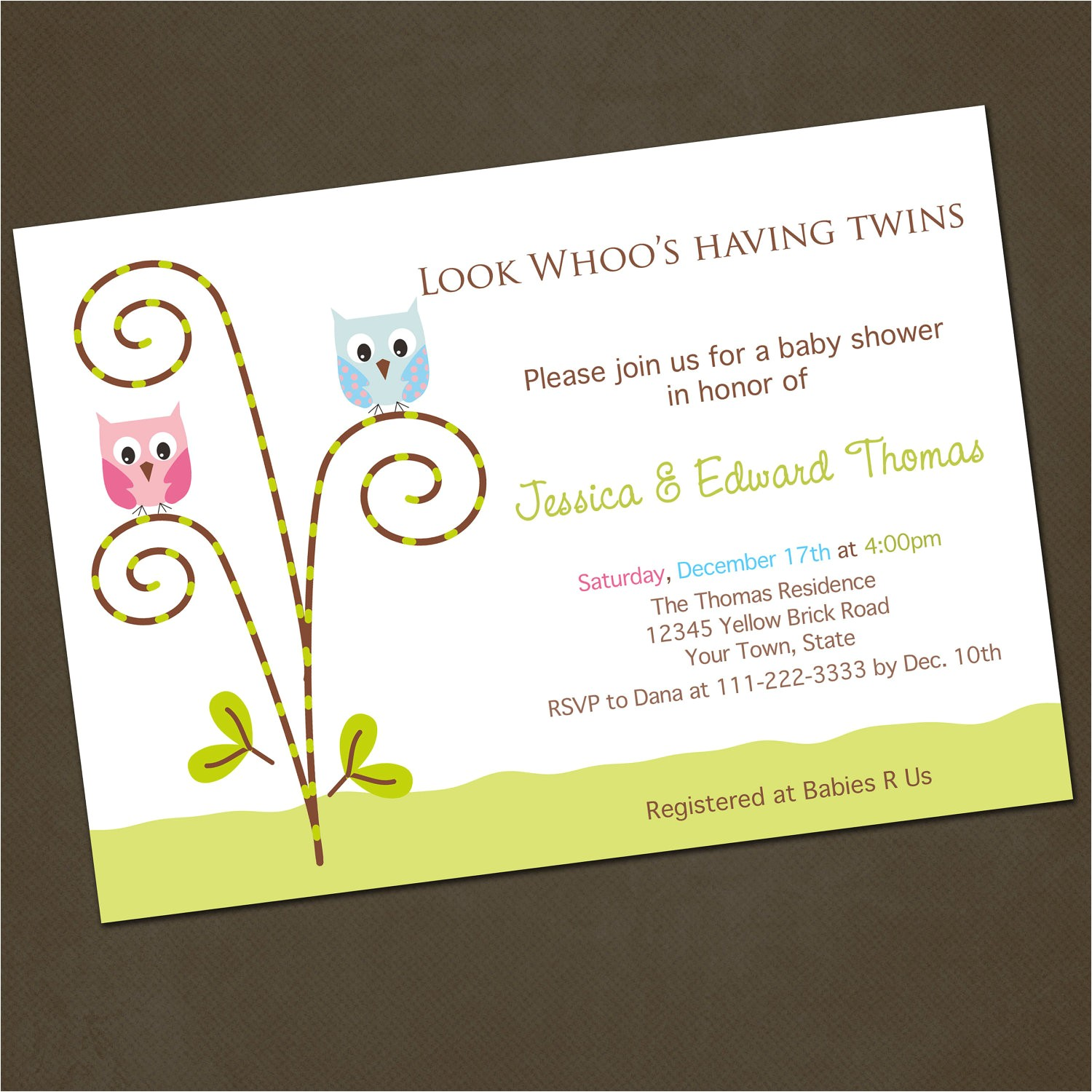 owl twins baby shower invitations you