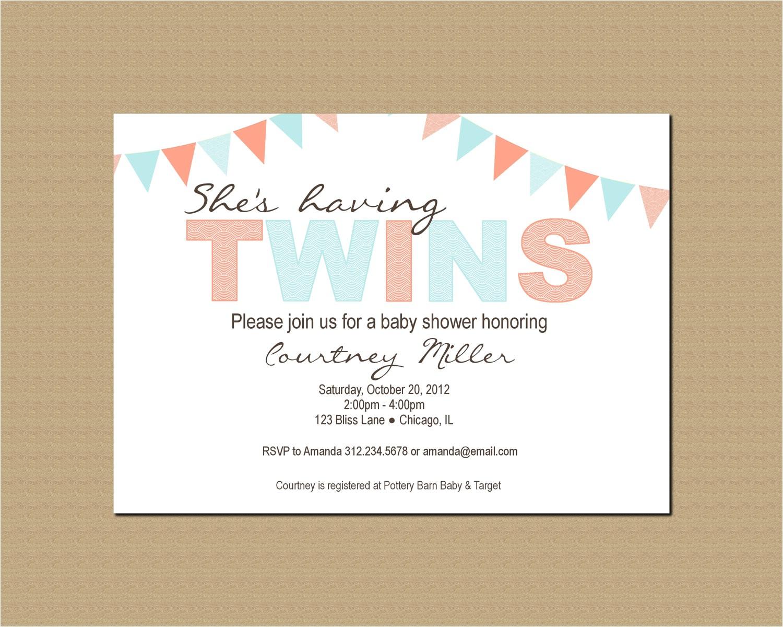 twin baby shower invitation printable