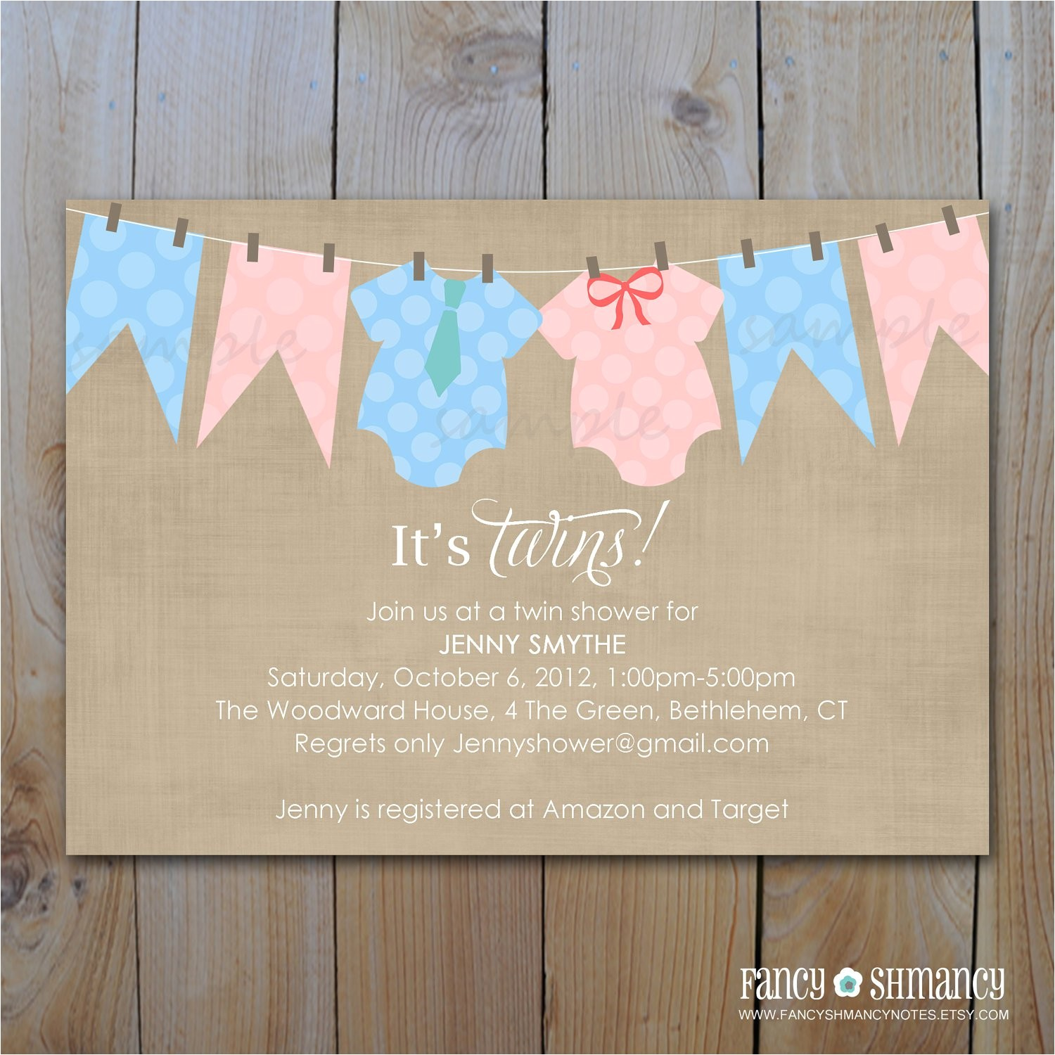 twins baby shower invitations printable