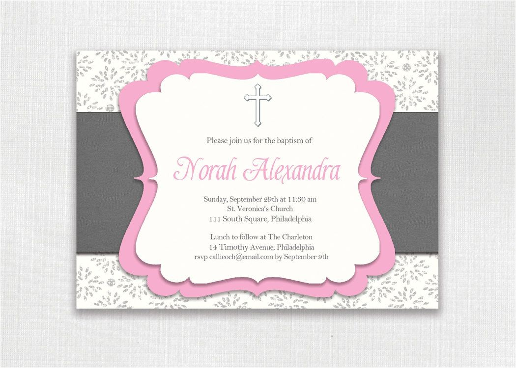 baby girl baptism invitation templates