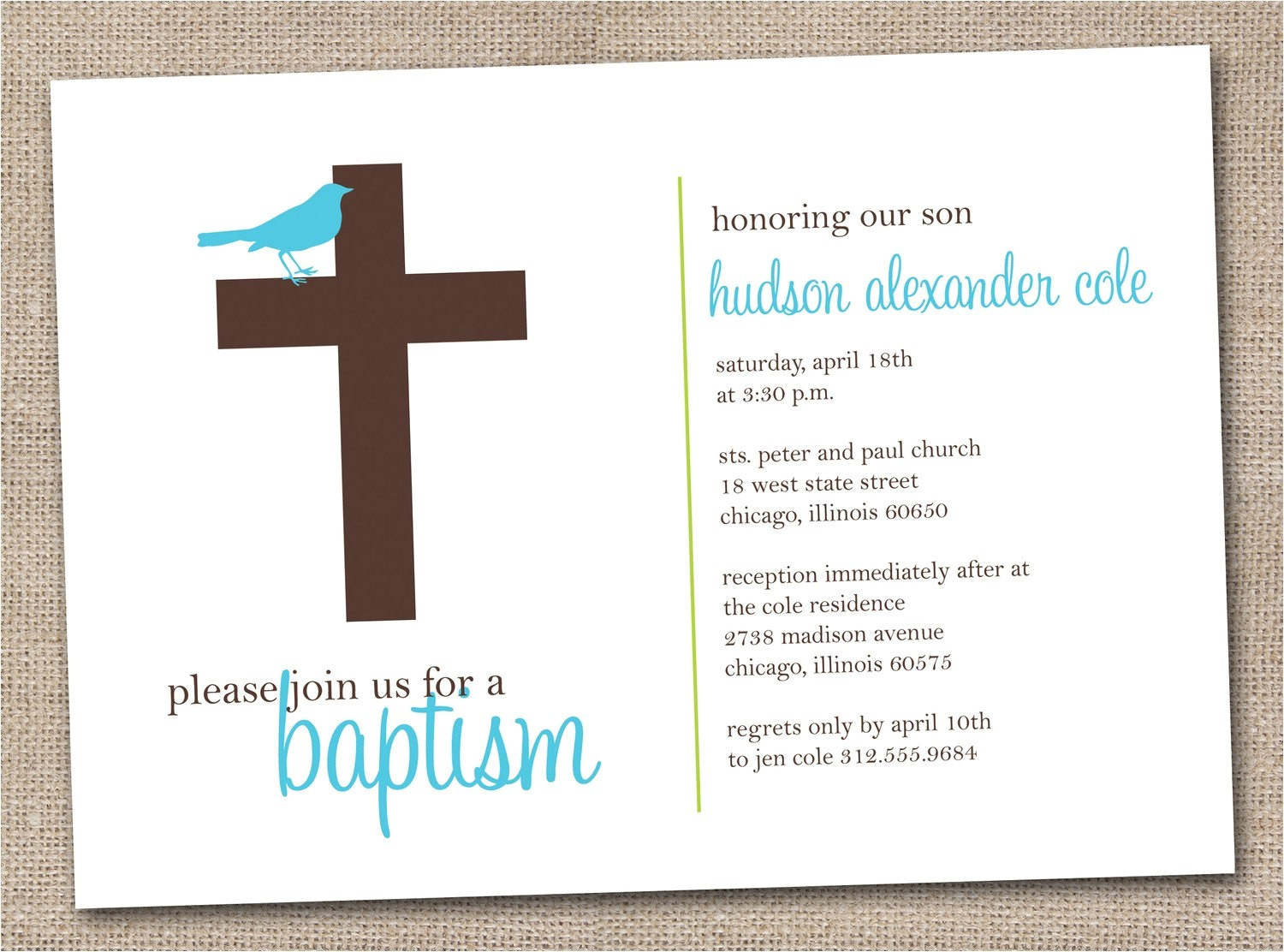 Printable Baptism Invitations Printable Baptism Invitations Blue and Brown Sparrow Bird and
