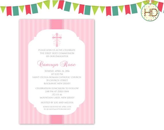 pink munion invitation 1st munion