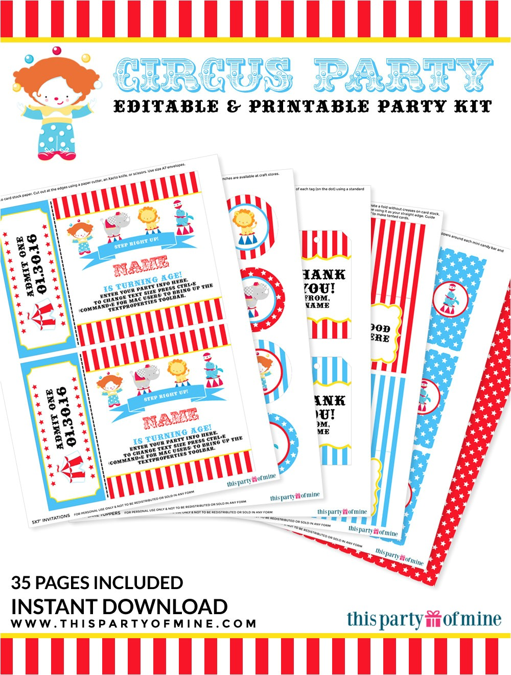 circus party invitation decorations kit