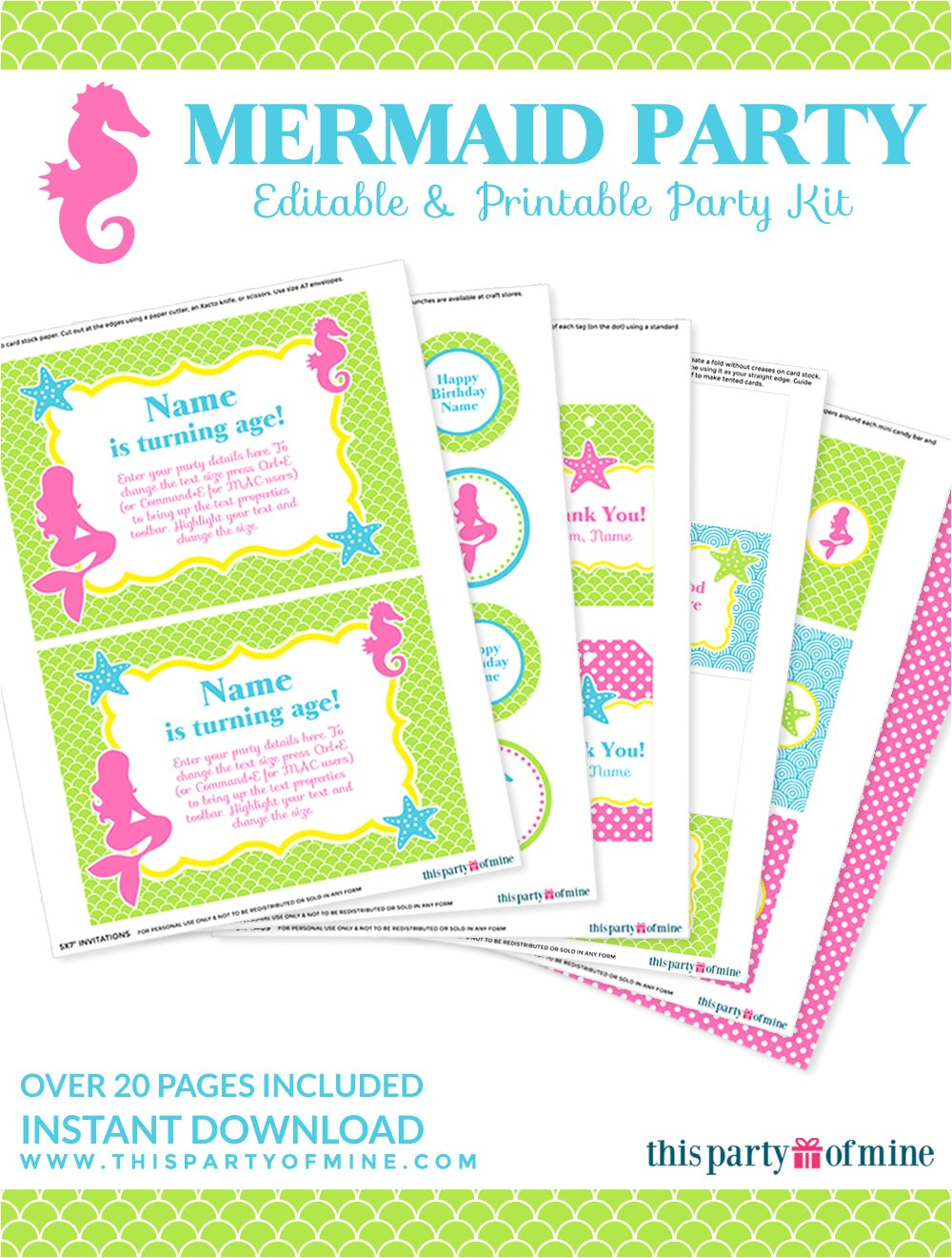 mermaid party invitation decorations kit