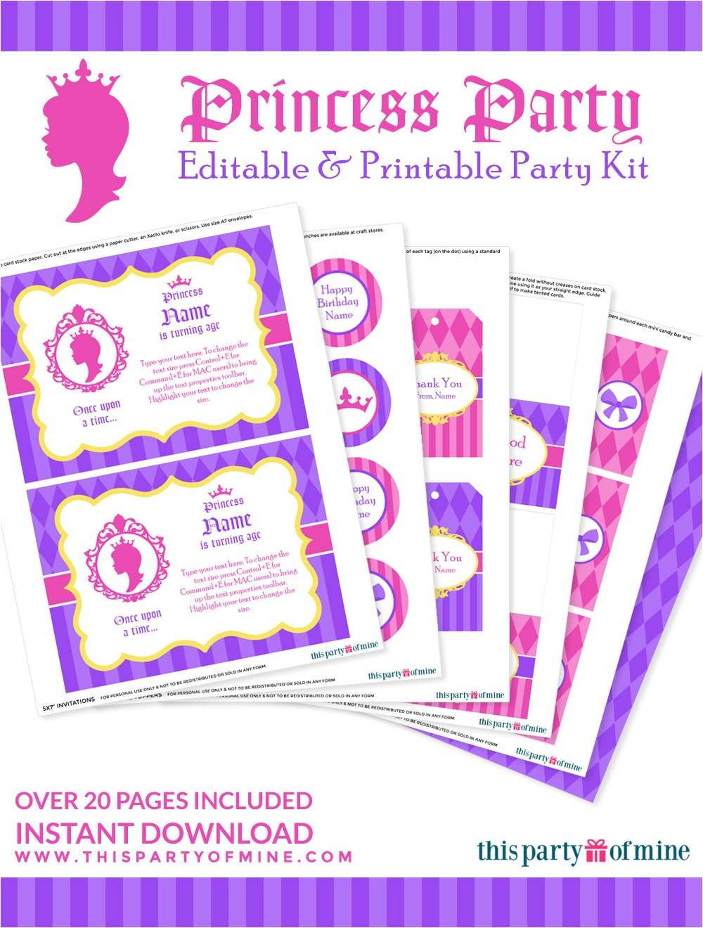 princess party invitation decorations