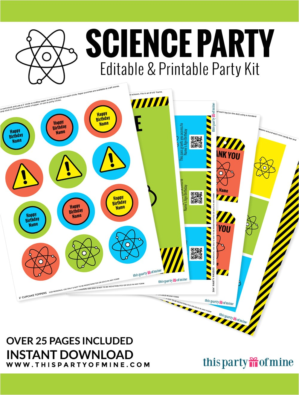 science party invitation decorations kit