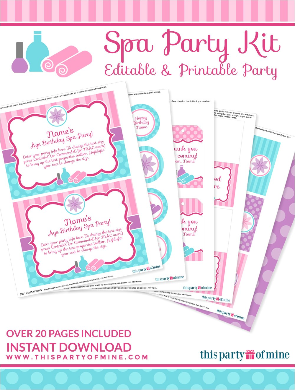 Printable Birthday Invitation Kits Spa Party Invitation Decorations Kit Printable Birthday