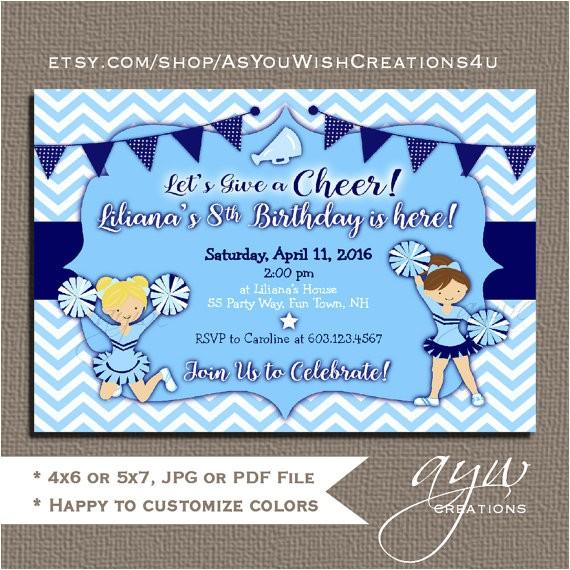 cheerleading birthday party invitation girl printable