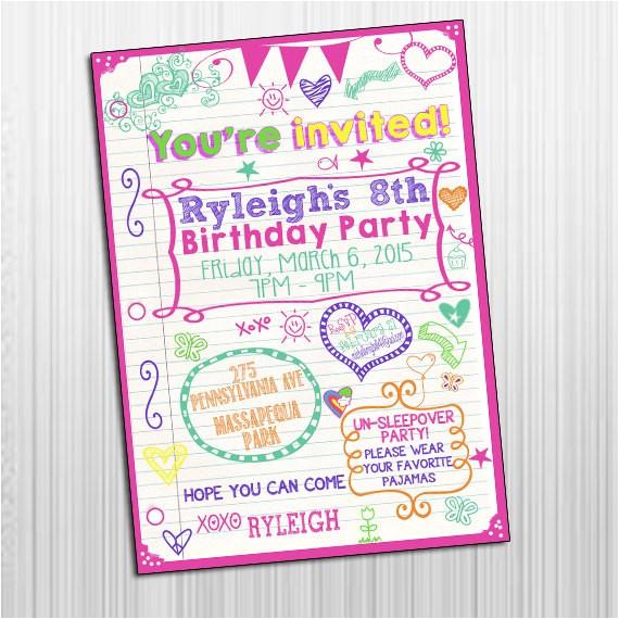 Printable Birthday Invitations for Tweens Items Similar to Printable 5×7 Sleepover Tween Birthday