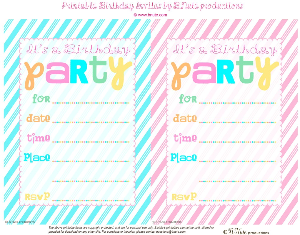 free printable striped birthday party