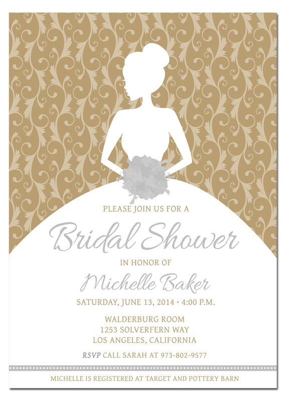 printable diy bridal shower invitation template with photoshop gold and silver metallic template bridal shower