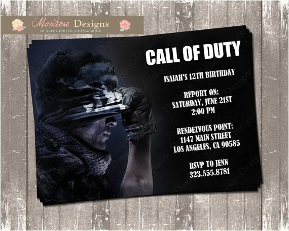 call of duty birthday invitation digital