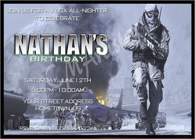 Printable Call Of Duty Birthday Invitations Personalized Invitations