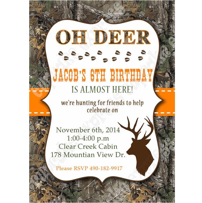 Camo boy Printable invitation hunting realtree DIY