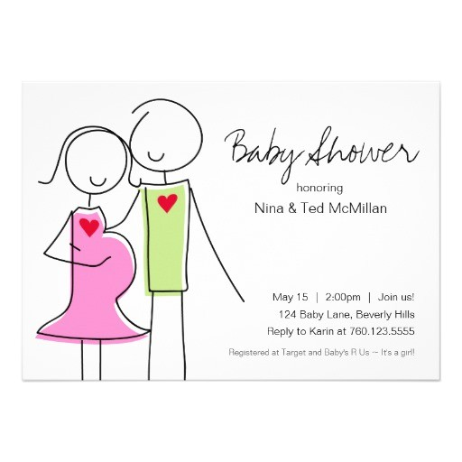 5x7 pink green coed baby shower invitations