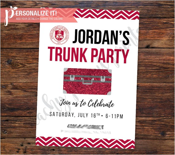 trunk party invitation going away