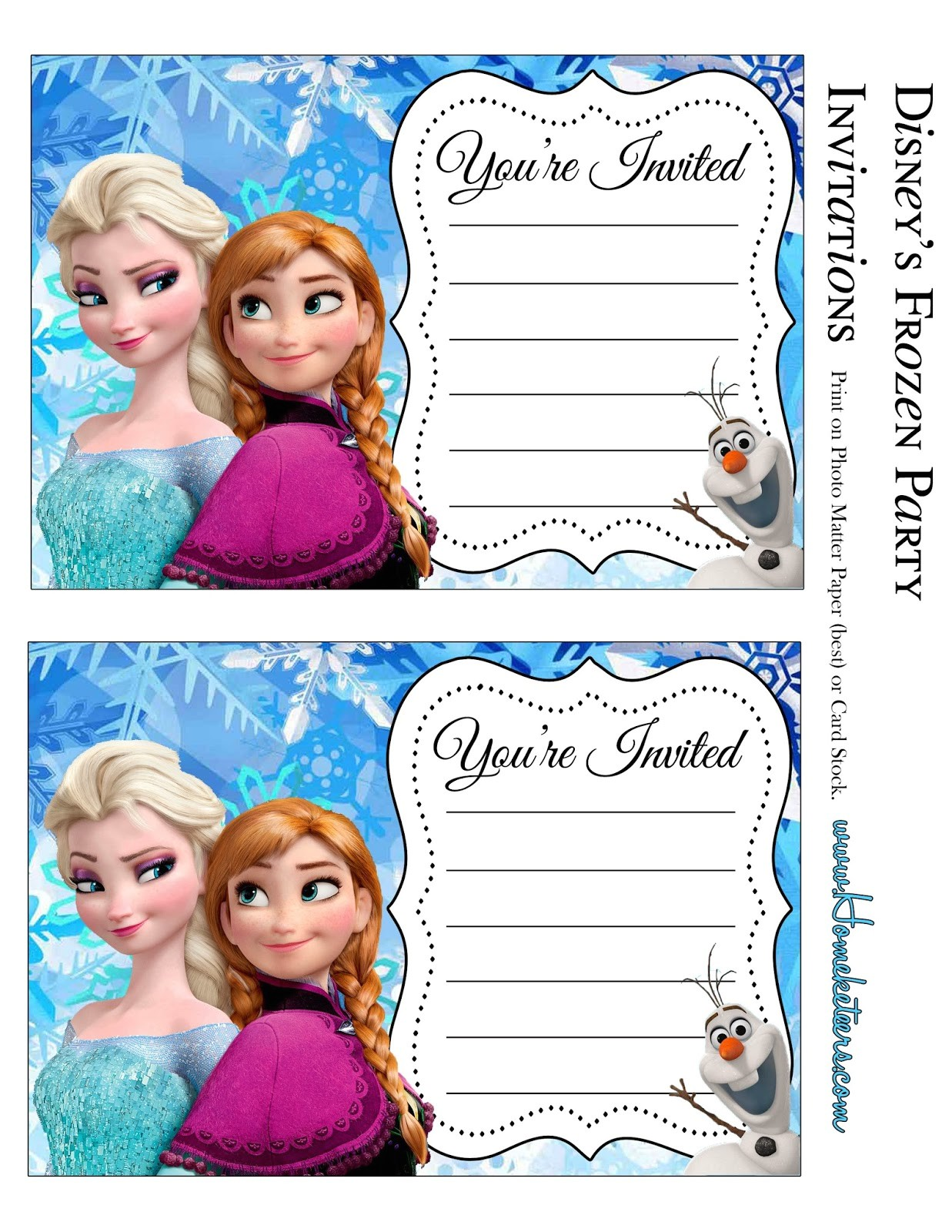 frozen party free printable invitations