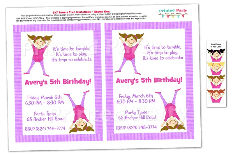 post gymnastic birthday invitations printable
