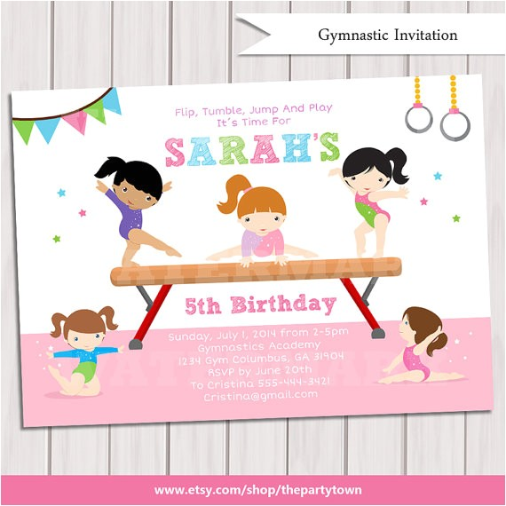 gymnastic birthday invitation printable