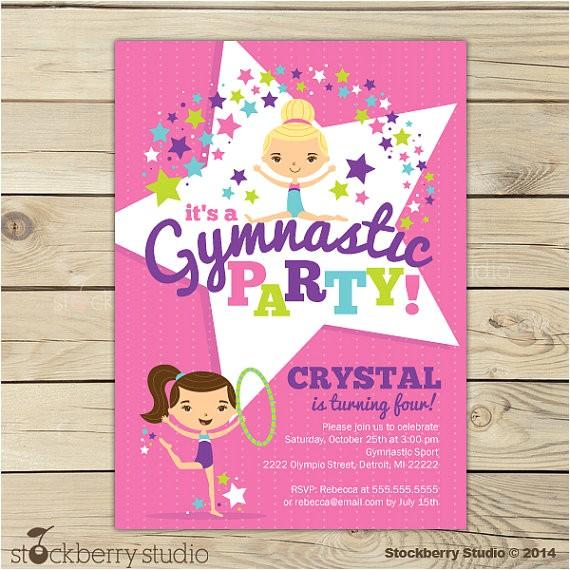 gymnastics birthday invitation printable gymnastics birthday