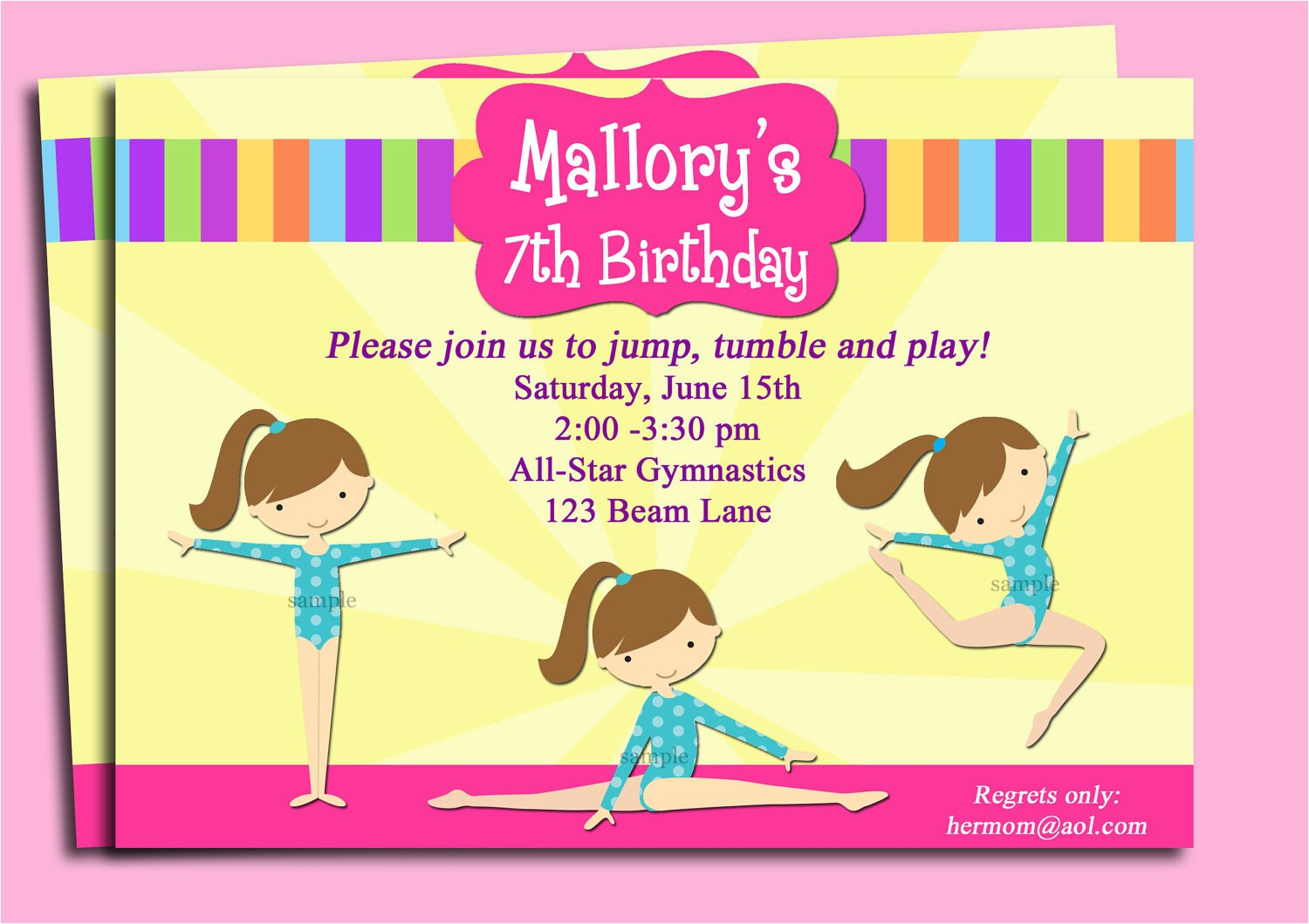 gymnastics invitation printable or
