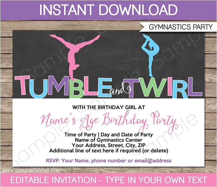 gymnastics party invitations printable