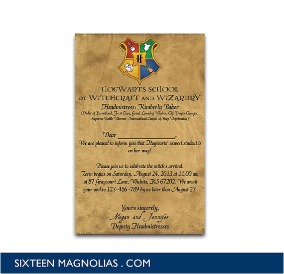 harry potter hogwarts letter baby shower